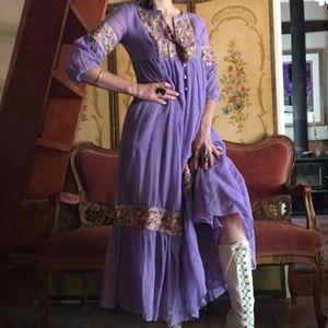 🌙Vintage 1960s Lavender Embroidered Dress